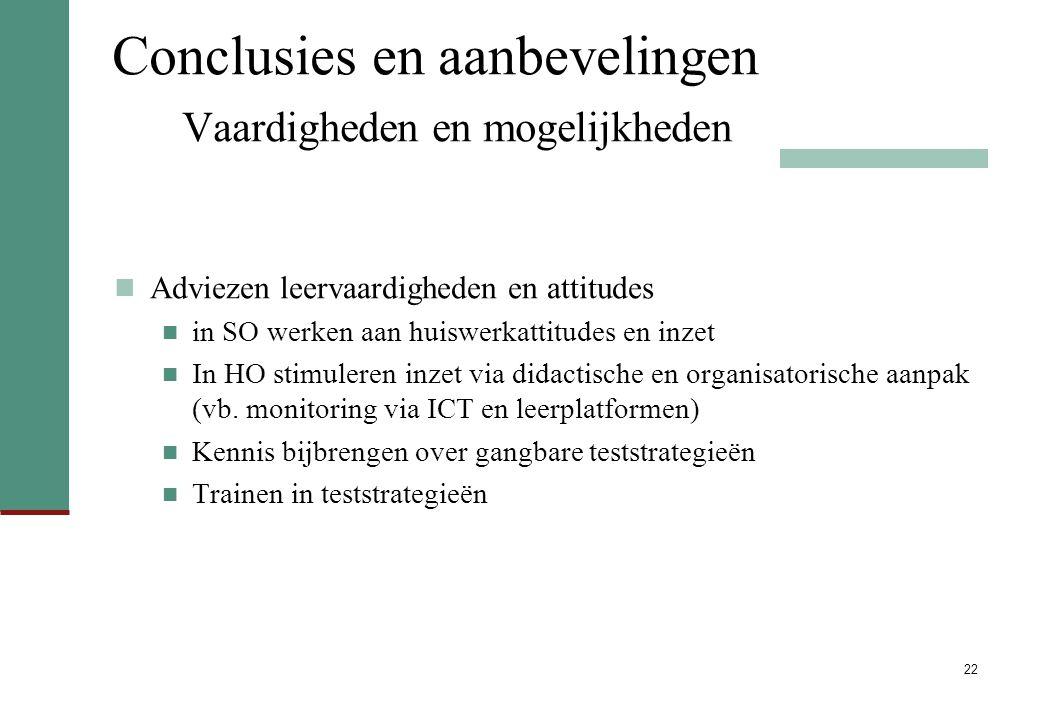 22 Conclusies en aanbevelingen Vaardigheden en mogelijkheden Adviezen leervaardigheden en attitudes in SO werken aan huiswerkattitudes en inzet In HO