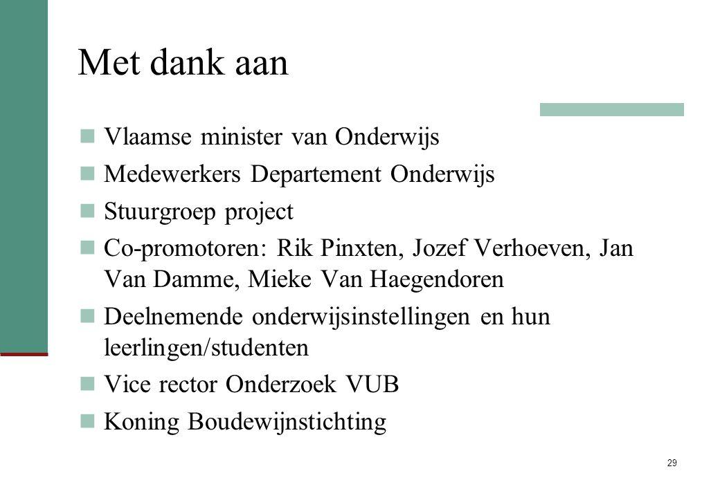 29 Met dank aan Vlaamse minister van Onderwijs Medewerkers Departement Onderwijs Stuurgroep project Co-promotoren: Rik Pinxten, Jozef Verhoeven, Jan V