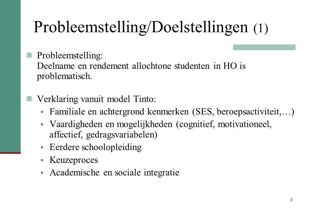 3 Probleemstelling/Doelstellingen (1) Probleemstelling: Deelname en rendement allochtone studenten in HO is problematisch.