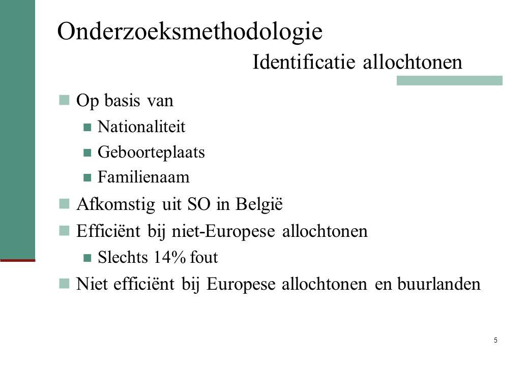5 Onderzoeksmethodologie Identificatie allochtonen Op basis van Nationaliteit Geboorteplaats Familienaam Afkomstig uit SO in België Efficiënt bij niet-Europese allochtonen Slechts 14% fout Niet efficiënt bij Europese allochtonen en buurlanden