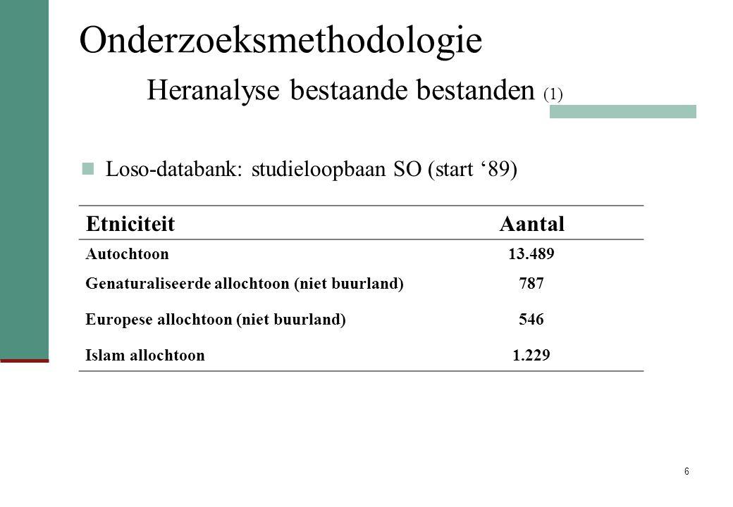 6 Onderzoeksmethodologie Heranalyse bestaande bestanden (1) Loso-databank: studieloopbaan SO (start '89) EtniciteitAantal Autochtoon13.489 Genaturaliseerde allochtoon (niet buurland)787 Europese allochtoon (niet buurland)546 Islam allochtoon1.229
