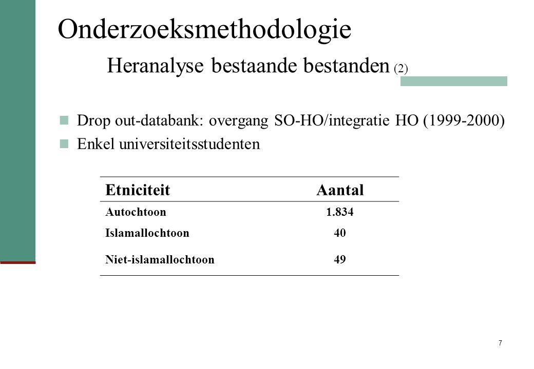 7 Onderzoeksmethodologie Heranalyse bestaande bestanden (2) Drop out-databank: overgang SO-HO/integratie HO (1999-2000) Enkel universiteitsstudenten EtniciteitAantal Autochtoon1.834 Islamallochtoon40 Niet-islamallochtoon49