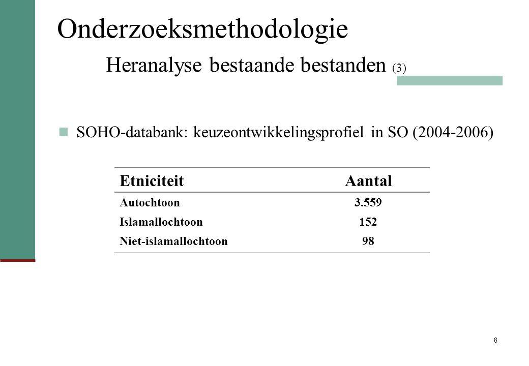 8 Onderzoeksmethodologie Heranalyse bestaande bestanden (3) SOHO-databank: keuzeontwikkelingsprofiel in SO (2004-2006) EtniciteitAantal Autochtoon3.559 Islamallochtoon152 Niet-islamallochtoon98