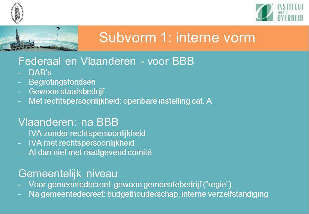 Federaal en Vlaanderen - voor BBB -DAB's -Begrotingsfondsen -Gewoon staatsbedrijf -Met rechtspersoonlijkheid: openbare instelling cat. A Vlaanderen: n
