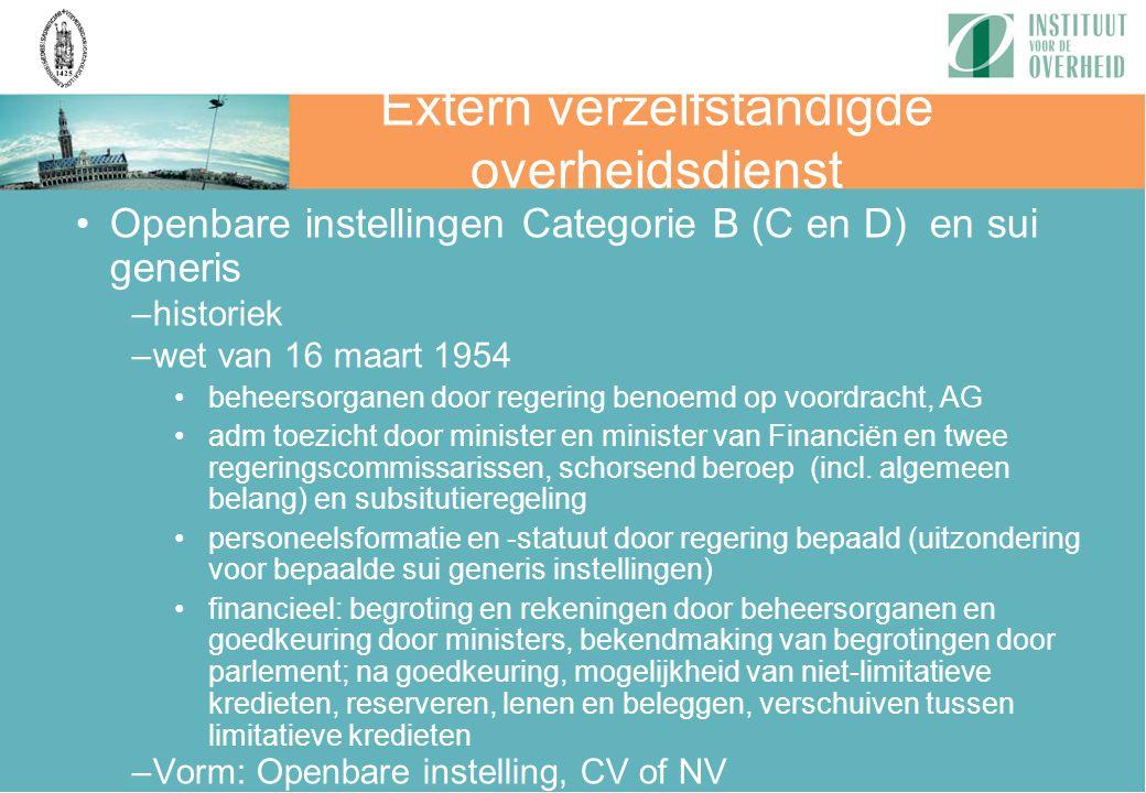 Extern verzelfstandigde overheidsdienst Openbare instellingen Categorie B (C en D) en sui generis –historiek –wet van 16 maart 1954 beheersorganen doo