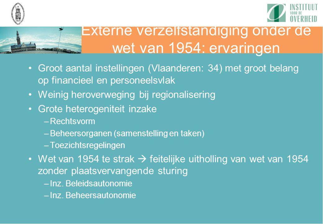 Externe verzelfstandiging onder de wet van 1954: ervaringen Groot aantal instellingen (Vlaanderen: 34) met groot belang op financieel en personeelsvla