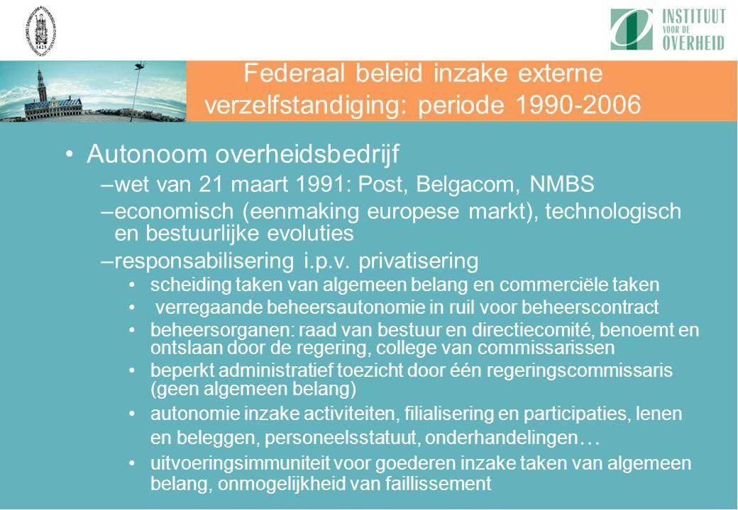 Federaal beleid inzake externe verzelfstandiging: periode 1990-2006 Autonoom overheidsbedrijf –wet van 21 maart 1991: Post, Belgacom, NMBS –economisch