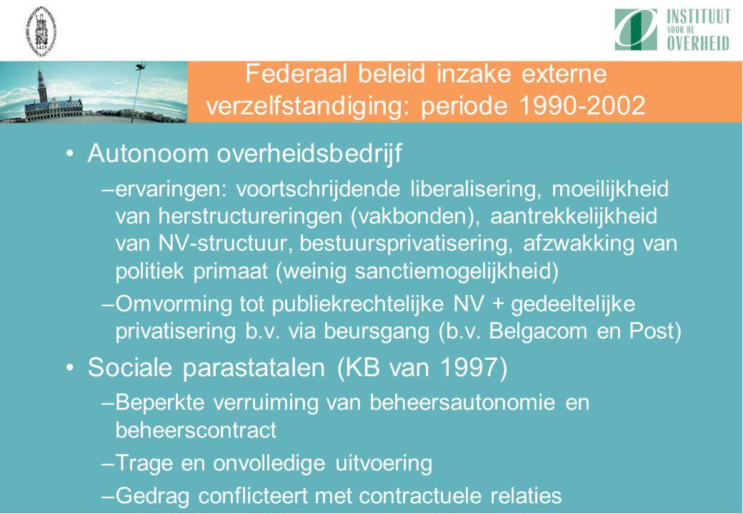 Federaal beleid inzake externe verzelfstandiging: periode 1990-2002 Autonoom overheidsbedrijf –ervaringen: voortschrijdende liberalisering, moeilijkhe