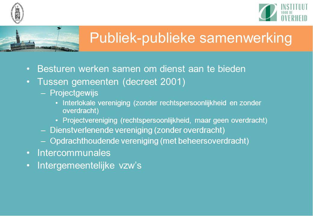 Besturen werken samen om dienst aan te bieden Tussen gemeenten (decreet 2001) –Projectgewijs Interlokale vereniging (zonder rechtspersoonlijkheid en z