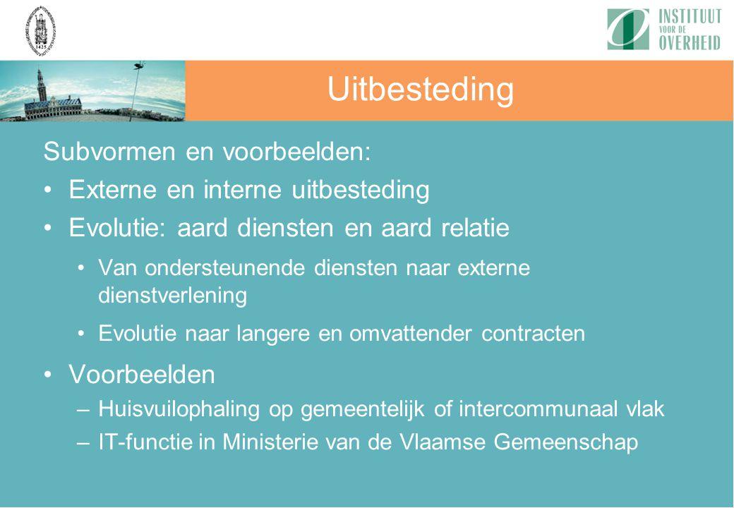 Subvormen en voorbeelden: Externe en interne uitbesteding Evolutie: aard diensten en aard relatie Van ondersteunende diensten naar externe dienstverle