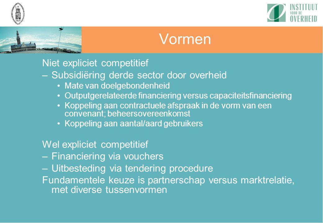 Vormen Niet expliciet competitief –Subsidiëring derde sector door overheid Mate van doelgebondenheid Outputgerelateerde financiering versus capaciteit