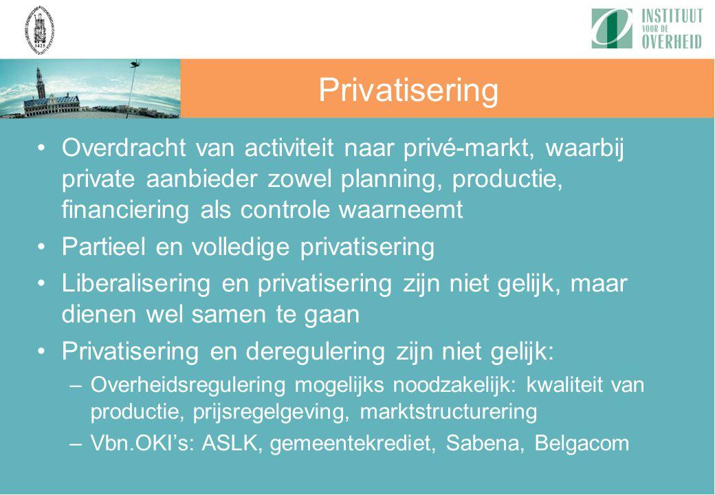 Overdracht van activiteit naar privé-markt, waarbij private aanbieder zowel planning, productie, financiering als controle waarneemt Partieel en volle