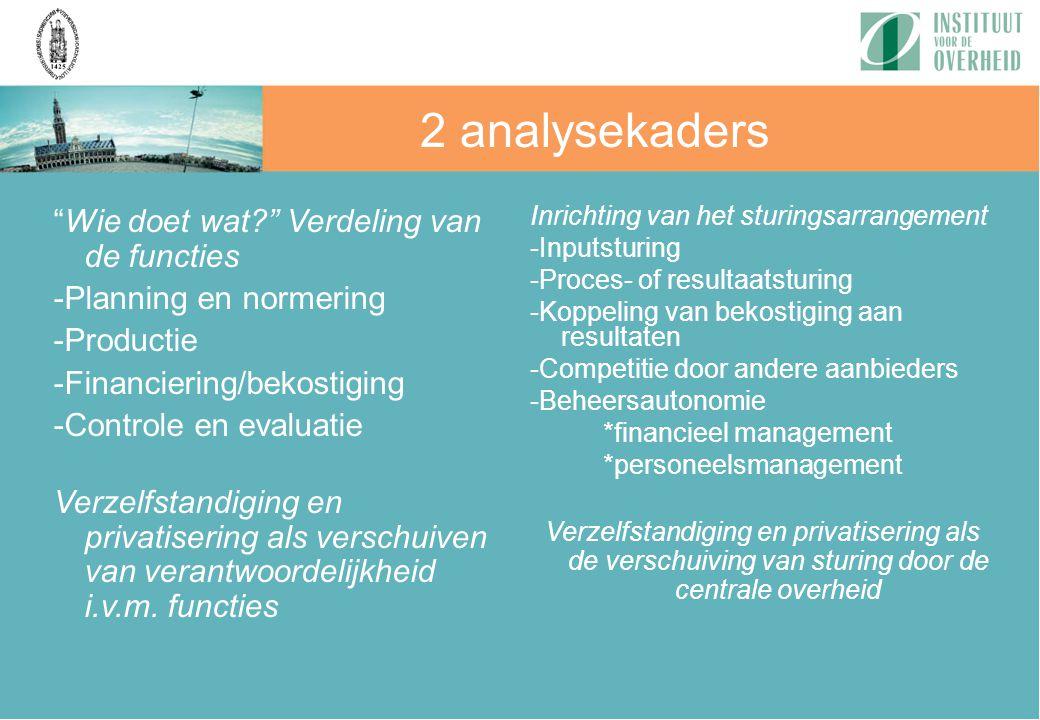 """2 analysekaders """"Wie doet wat?"""" Verdeling van de functies -Planning en normering -Productie -Financiering/bekostiging -Controle en evaluatie Verzelfst"""