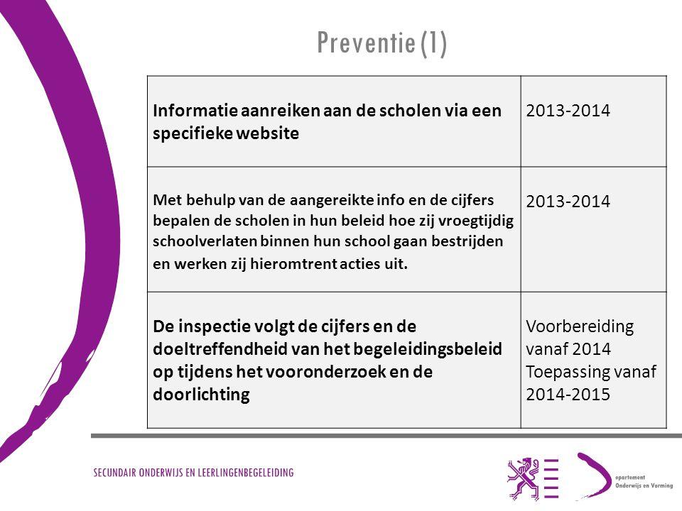 Preventie (1) Informatie aanreiken aan de scholen via een specifieke website 2013-2014 Met behulp van de aangereikte info en de cijfers bepalen de sch