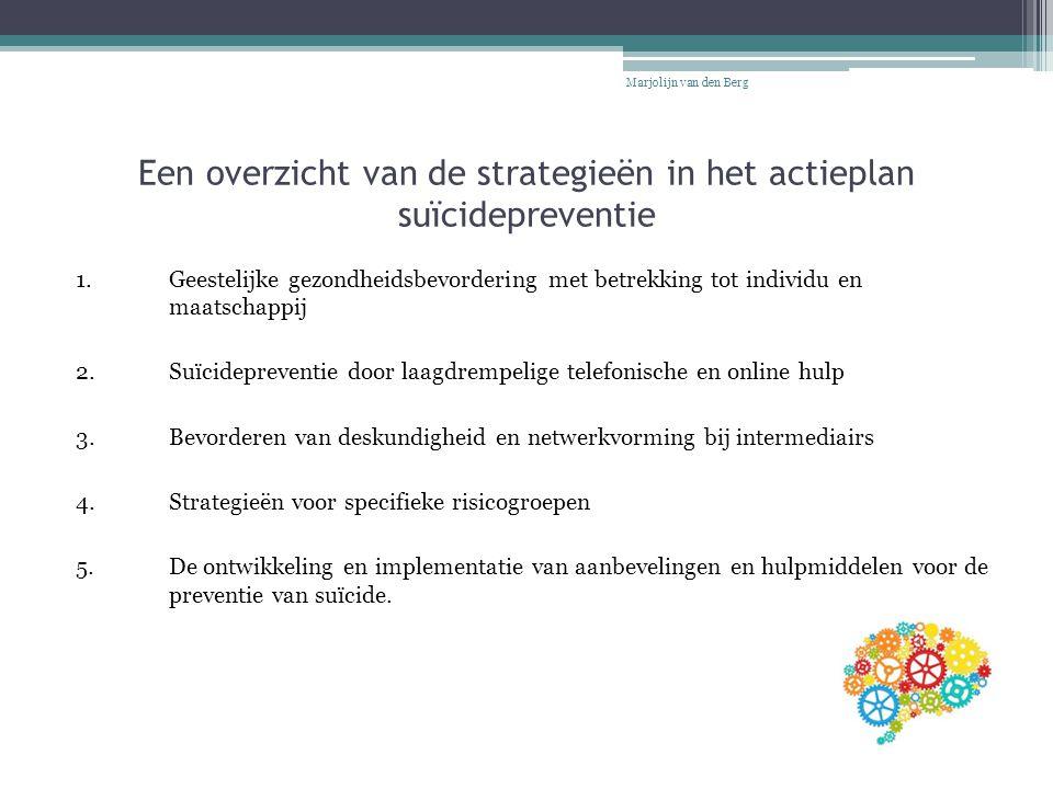 Een overzicht van de strategieën in het actieplan suïcidepreventie 1. Geestelijke gezondheidsbevordering met betrekking tot individu en maatschappij 2