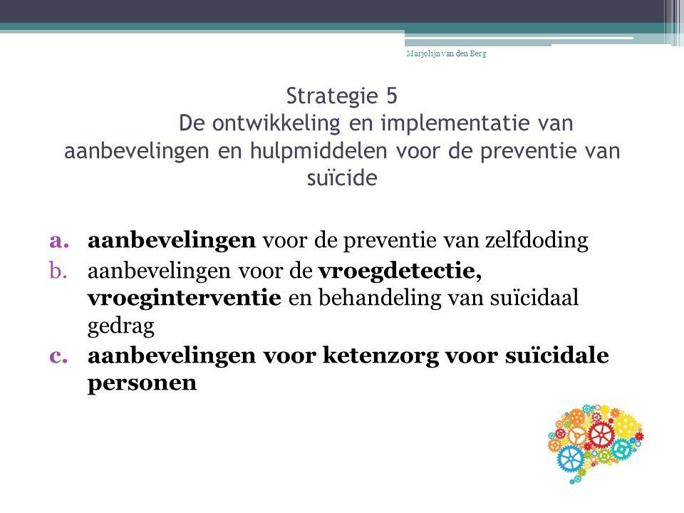 Strategie 5 De ontwikkeling en implementatie van aanbevelingen en hulpmiddelen voor de preventie van suïcide a.aanbevelingen voor de preventie van zel