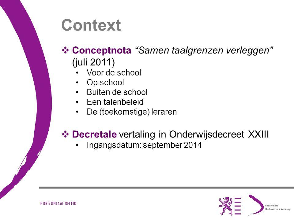 """Context  Conceptnota """"Samen taalgrenzen verleggen"""" (juli 2011) Voor de school Op school Buiten de school Een talenbeleid De (toekomstige) leraren  D"""