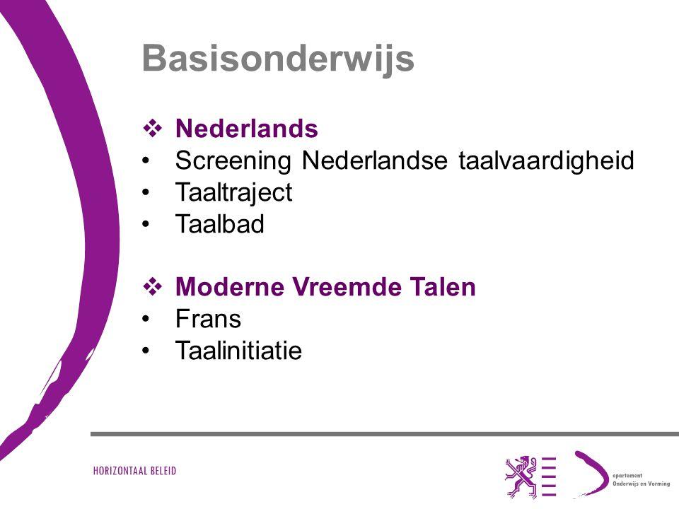 Basisonderwijs  Nederlands Screening Nederlandse taalvaardigheid Taaltraject Taalbad  Moderne Vreemde Talen Frans Taalinitiatie