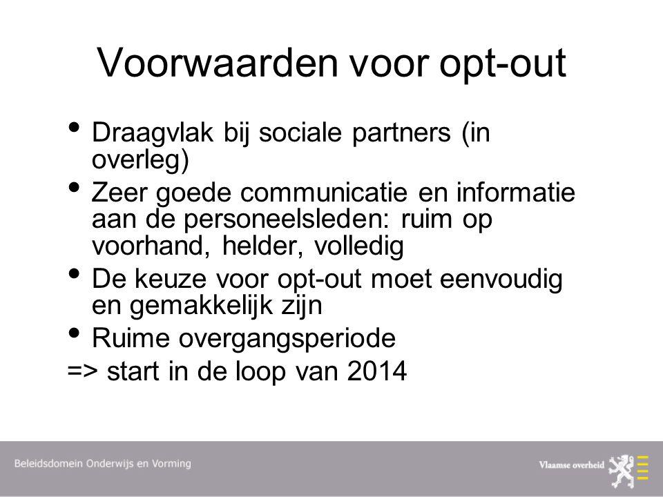 Voorwaarden voor opt-out Draagvlak bij sociale partners (in overleg) Zeer goede communicatie en informatie aan de personeelsleden: ruim op voorhand, h