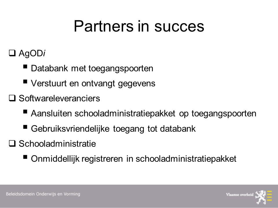 Partners in succes  AgODi  Databank met toegangspoorten  Verstuurt en ontvangt gegevens  Softwareleveranciers  Aansluiten schooladministratiepakk