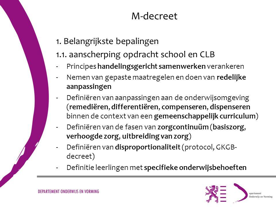 M-decreet 1. Belangrijkste bepalingen 1.1. aanscherping opdracht school en CLB -Principes handelingsgericht samenwerken verankeren -Nemen van gepaste