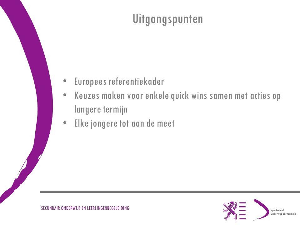 Uitgangspunten Europees referentiekader Keuzes maken voor enkele quick wins samen met acties op langere termijn Elke jongere tot aan de meet