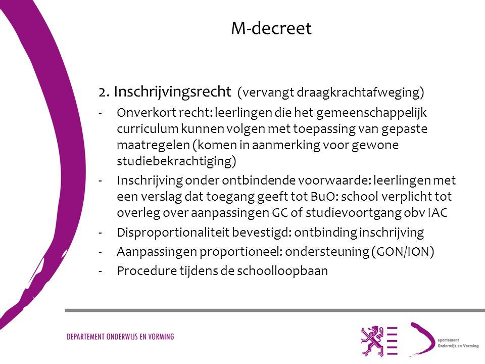 M-decreet 2. Inschrijvingsrecht (vervangt draagkrachtafweging) -Onverkort recht: leerlingen die het gemeenschappelijk curriculum kunnen volgen met toe