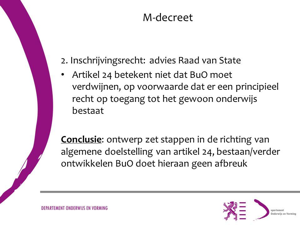 M-decreet 2. Inschrijvingsrecht: advies Raad van State Artikel 24 betekent niet dat BuO moet verdwijnen, op voorwaarde dat er een principieel recht op