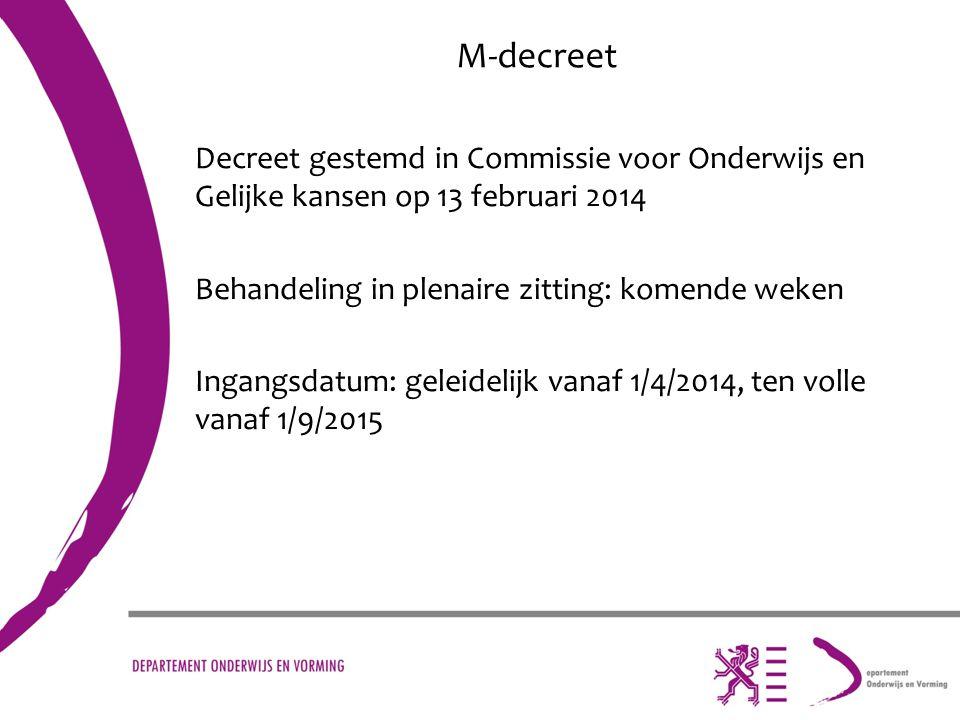 M-decreet Decreet gestemd in Commissie voor Onderwijs en Gelijke kansen op 13 februari 2014 Behandeling in plenaire zitting: komende weken Ingangsdatu