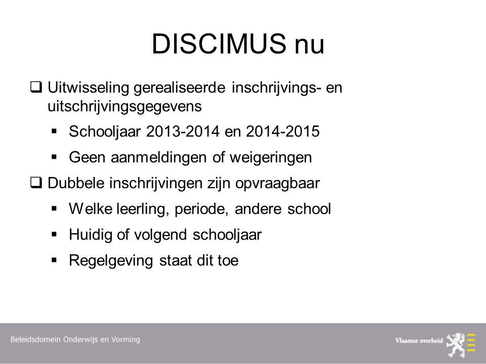 DISCIMUS nu  Uitwisseling gerealiseerde inschrijvings- en uitschrijvingsgegevens  Schooljaar 2013-2014 en 2014-2015  Geen aanmeldingen of weigering