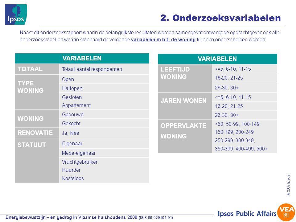 Energiebewustzijn – en gedrag in Vlaamse huishoudens 2009 (ISIS 09-020104-01) © 2009 Ipsos 17 2.
