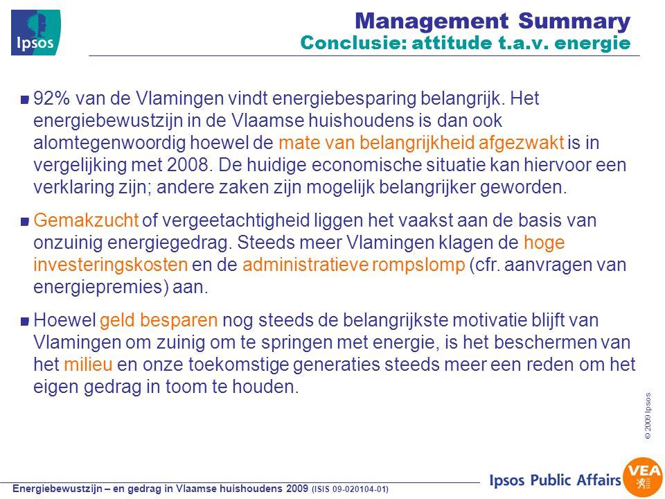 Energiebewustzijn – en gedrag in Vlaamse huishoudens 2009 (ISIS 09-020104-01) © 2009 Ipsos typering houding t.o.v.