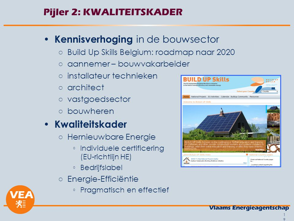 19 Pijler 2: KWALITEITSKADER Kennisverhoging in de bouwsector ○Build Up Skills Belgium: roadmap naar 2020 ○aannemer – bouwvakarbeider ○installateur technieken ○architect ○vastgoedsector ○bouwheren Kwaliteitskader ○Hernieuwbare Energie ◦Individuele certificering (EU-richtlijn HE) ◦Bedrijfslabel ○Energie-Efficiëntie ◦Pragmatisch en effectief