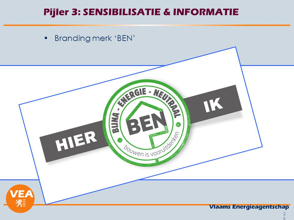 20 Pijler 3: SENSIBILISATIE & INFORMATIE Branding merk 'BEN'