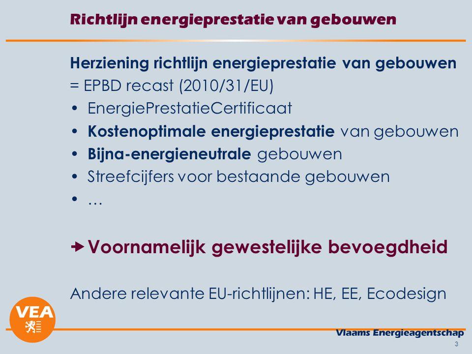 3 Herziening richtlijn energieprestatie van gebouwen = EPBD recast (2010/31/EU) EnergiePrestatieCertificaat Kostenoptimale energieprestatie van gebouwen Bijna-energieneutrale gebouwen Streefcijfers voor bestaande gebouwen …  Voornamelijk gewestelijke bevoegdheid Andere relevante EU-richtlijnen: HE, EE, Ecodesign