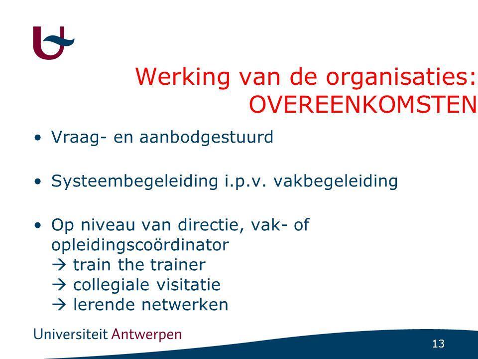 13 Werking van de organisaties: OVEREENKOMSTEN Vraag- en aanbodgestuurd Systeembegeleiding i.p.v. vakbegeleiding Op niveau van directie, vak- of oplei