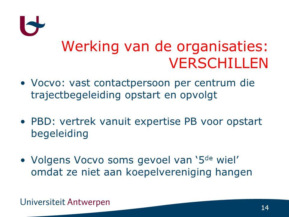 14 Werking van de organisaties: VERSCHILLEN Vocvo: vast contactpersoon per centrum die trajectbegeleiding opstart en opvolgt PBD: vertrek vanuit exper