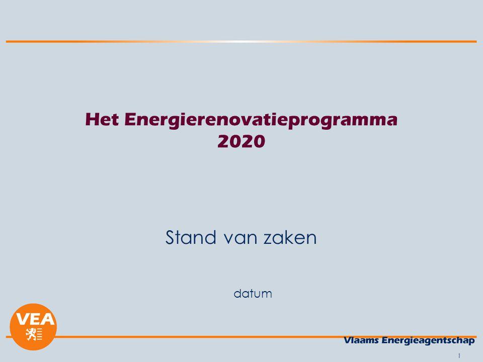 datum 2 Ter herinnering Strategische doelstelling In het Vlaamse Gewest zijn er in het jaar 2020 geen energieverslindende woningen meer