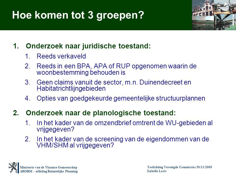 Ministerie van de Vlaamse Gemeenschap AROHM - afdeling Ruimtelijke Planning Toelichting Verenigde Commissies 30/11/2005 Isabelle Loris Hoe komen tot 3 groepen.