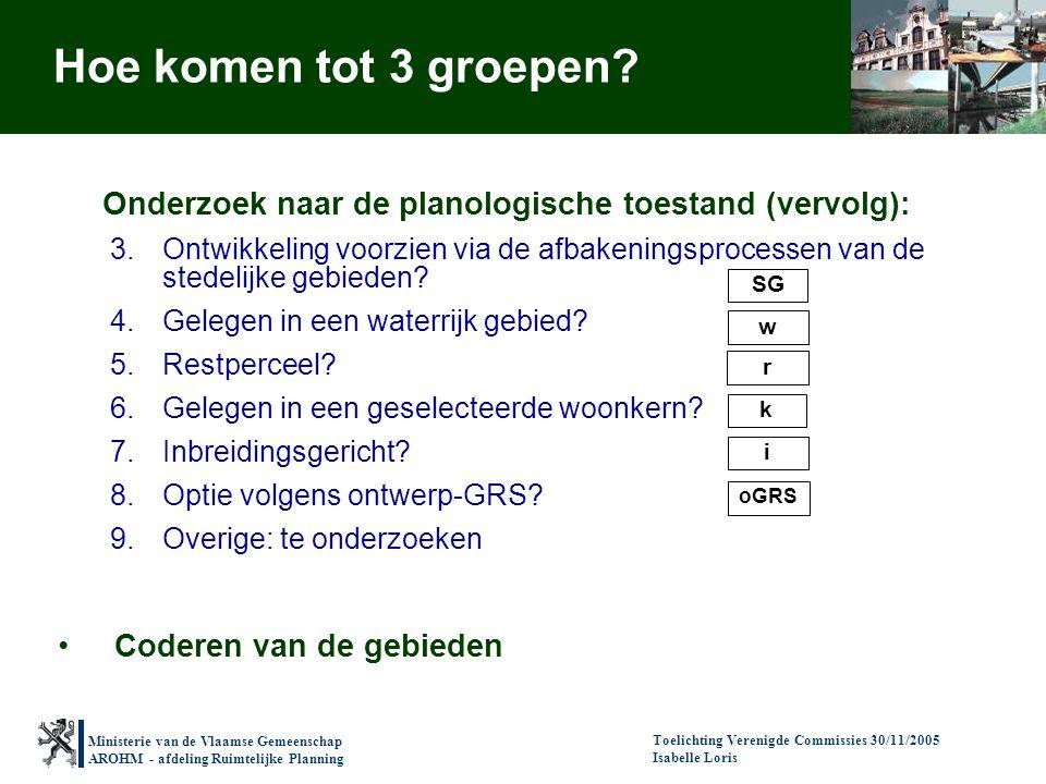 Ministerie van de Vlaamse Gemeenschap AROHM - afdeling Ruimtelijke Planning Toelichting Verenigde Commissies 30/11/2005 Isabelle Loris Onderzoek naar de planologische toestand (vervolg): 3.Ontwikkeling voorzien via de afbakeningsprocessen van de stedelijke gebieden.