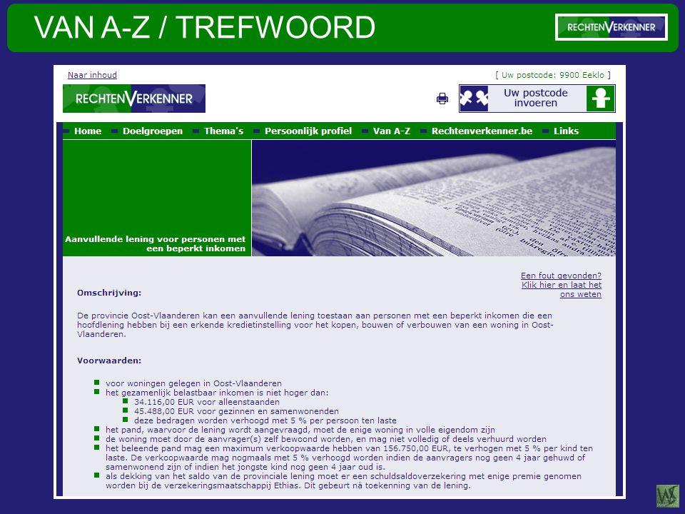 VAN A-Z / TREFWOORD