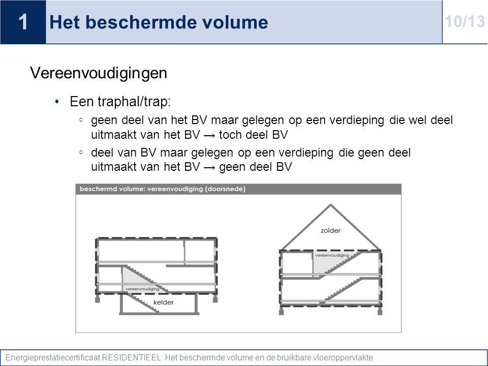 Energieprestatiecertificaat RESIDENTIEEL: Het beschermde volume en de bruikbare vloeroppervlakte Het beschermde volume Vereenvoudigingen Een traphal/t