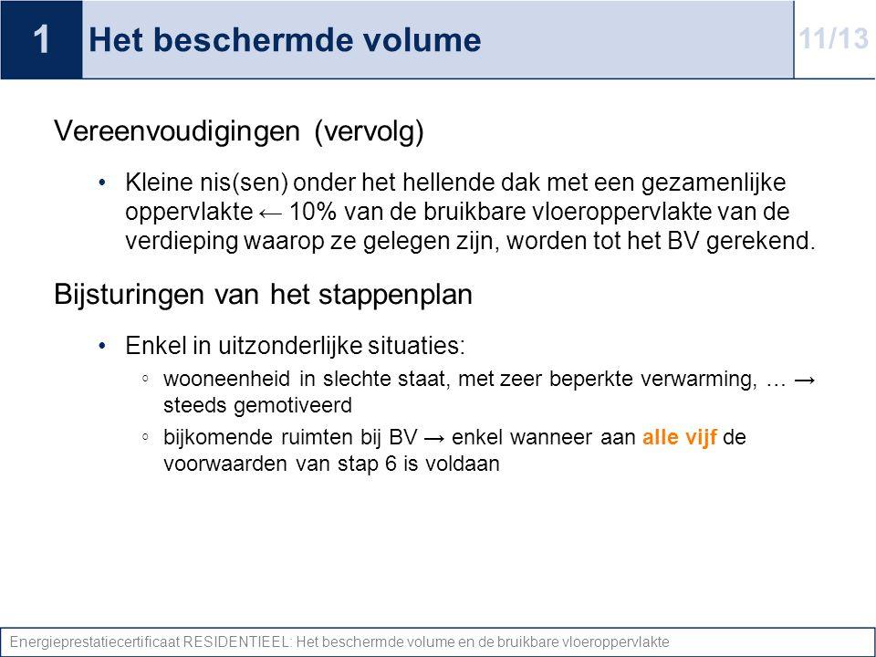 Energieprestatiecertificaat RESIDENTIEEL: Het beschermde volume en de bruikbare vloeroppervlakte Het beschermde volume Vereenvoudigingen (vervolg) Kle