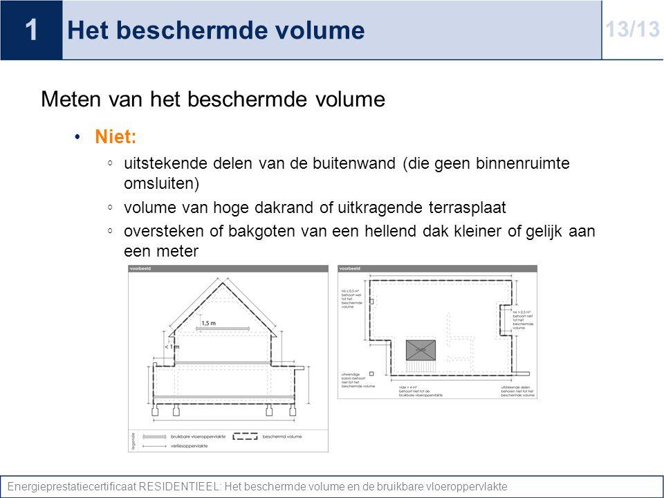 Energieprestatiecertificaat RESIDENTIEEL: Het beschermde volume en de bruikbare vloeroppervlakte Het beschermde volume Meten van het beschermde volume