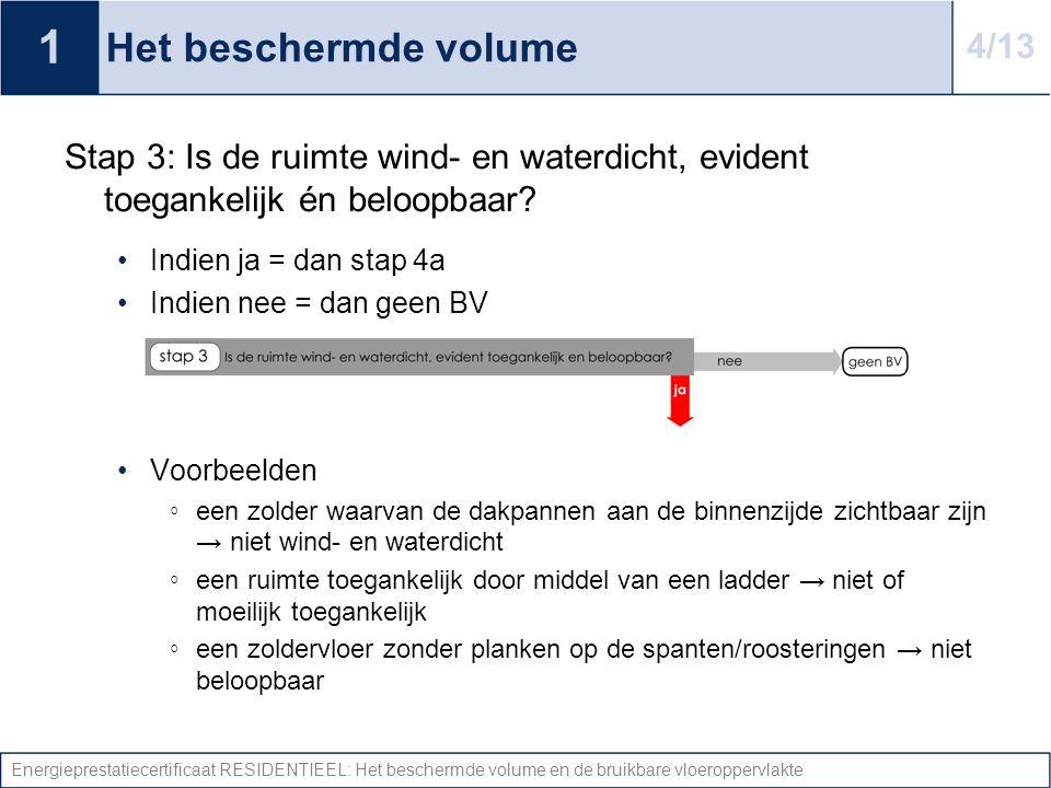 Energieprestatiecertificaat RESIDENTIEEL: Het beschermde volume en de bruikbare vloeroppervlakte Het beschermde volume Stap 3: Is de ruimte wind- en w