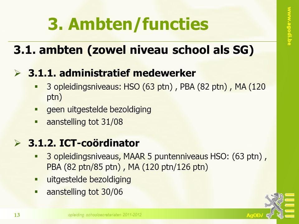 www.agodi.be AgODi 3. Ambten/functies 3.1. ambten (zowel niveau school als SG)  3.1.1.