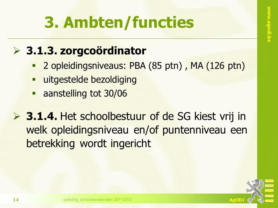 www.agodi.be AgODi 3. Ambten/functies  3.1.3.