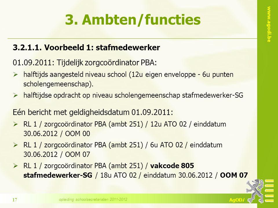 www.agodi.be AgODi 3. Ambten/functies 3.2.1.1.