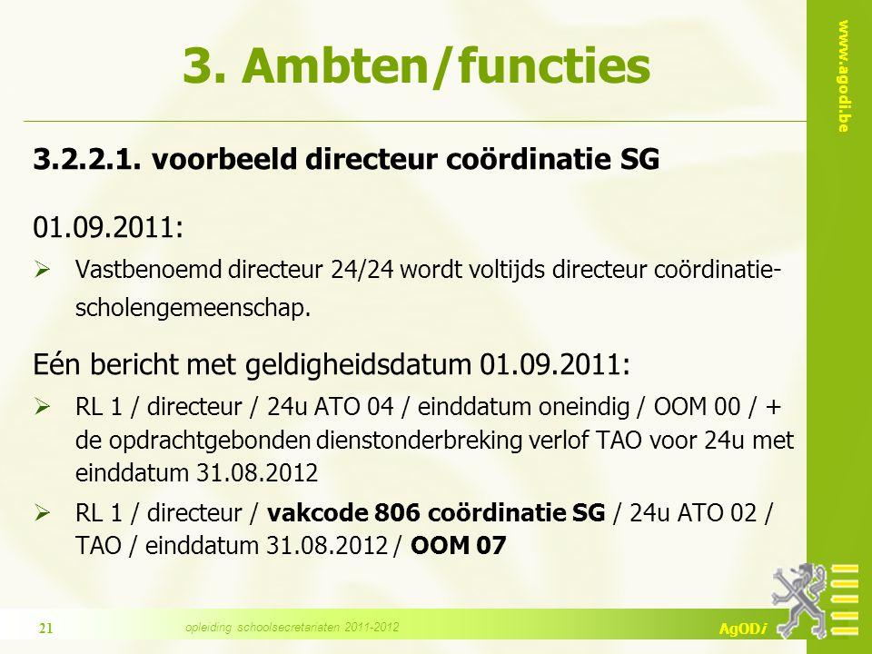 www.agodi.be AgODi 3. Ambten/functies 3.2.2.1.