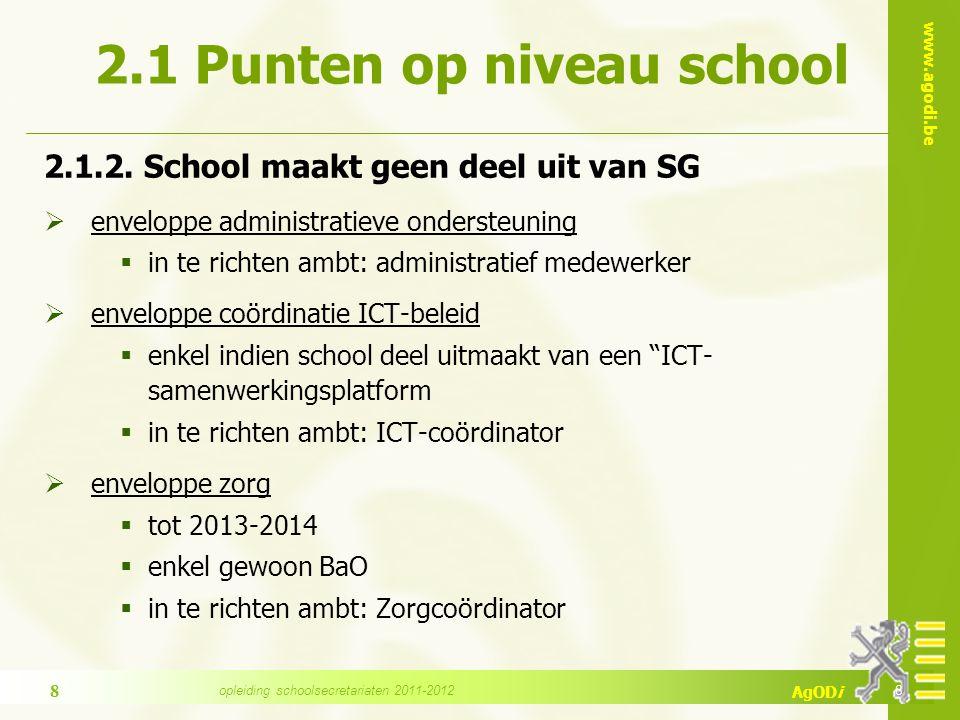 www.agodi.be AgODi 2.1 Punten op niveau school 2.1.2.
